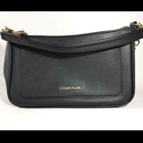 Calvin Klein Black Saffiano Leather Crossbody